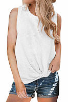 Casual Hem Twist Round Collar T-Shirt