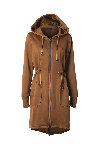 Hooded Plain Casual Outerwear