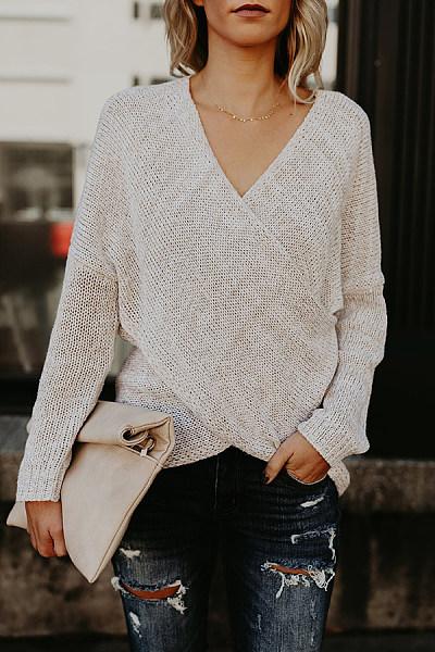 Surplice  Asymmetric Hem  Plain Sweaters