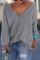 Classic Design Grey Long Sleeves Loose Plunge Sweater