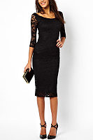 Round Neck Lace Sheath Three Quarter Sleeve Bodycon Dresses