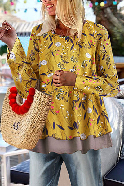Bohemia Style Floral Printed Loose Blouses