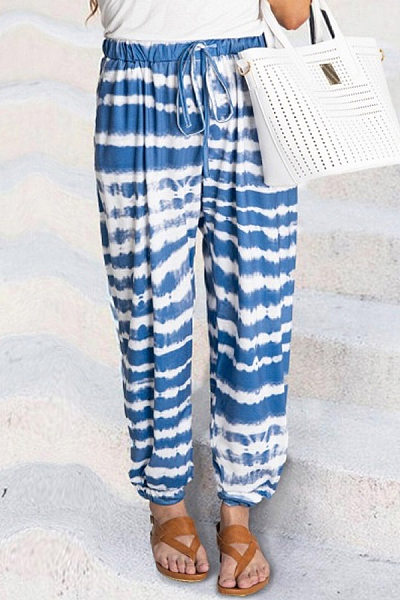 Coloring Striped Long Casual Pants