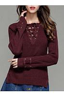 V-Neck Lace-Up  Plain Sweater