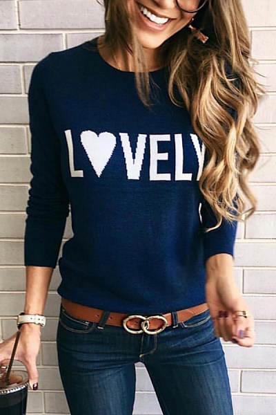 Round Neck Long Sleeve Letters Sweater