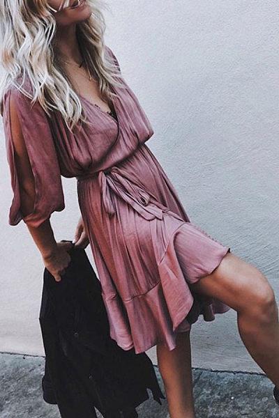 Surplice  Slit  Belt  Plain  Half Sleeve Casual Dresses