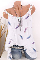 Feather Print Sleeveless T-shirt