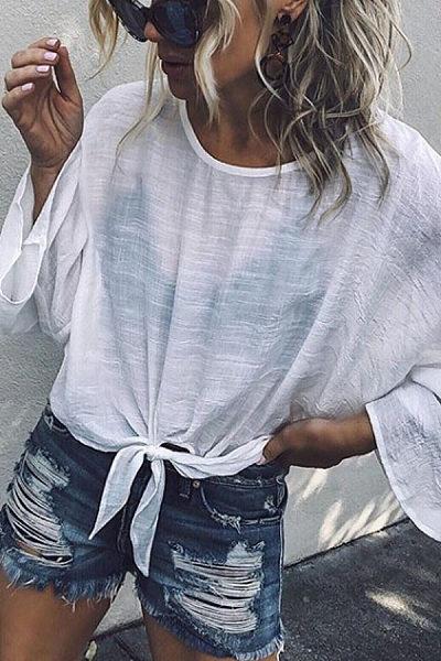 Round Neck  Plain  Bell Sleeve T-Shirts