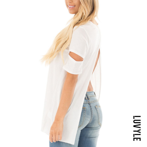 White Round Neck Backless Hollow Out Plain T-Shirts White Round Neck Backless Hollow Out Plain T-Shirts