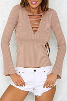 V Neck  Bell Sleeve Sweaters