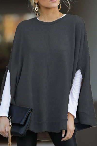 Round Neck Long Sleeve Loose-Fitting Casual Outwear