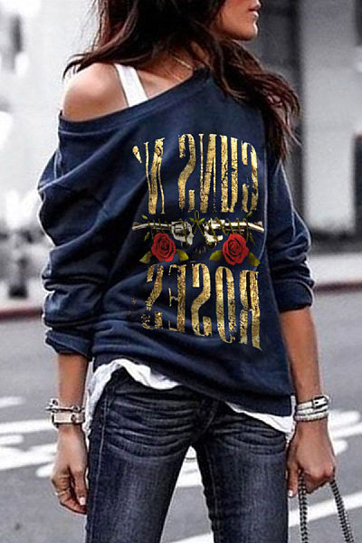 One Shouder Casual Soft Printed Long Sleeve T-Shirt