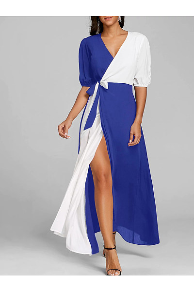 Surplice  Color Block Maxi Dress