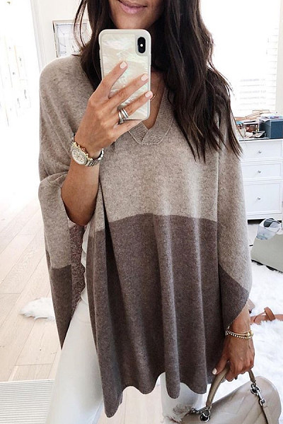 V Neck Cape Sleeve Colouring Sweater