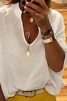 Women's V-Neck Solid Color Long Sleeve Shirt