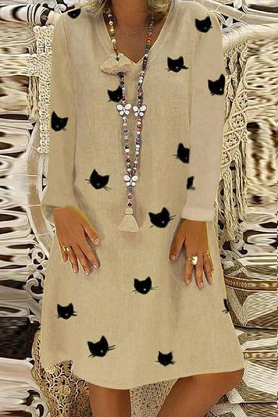 Casual V Neck Long Sleeve Printed Mini Dress