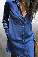 Explosion Models Denim Shirt Long-Sleeved Women's Dress