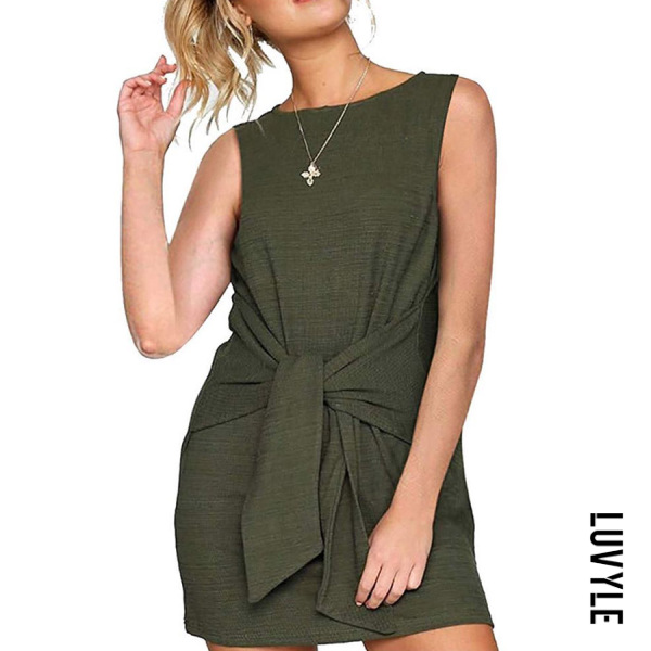 Army Green Round Neck Lace Up Plain Sleeveless Casual Dresses Army Green Round Neck Lace Up Plain Sleeveless Casual Dresses