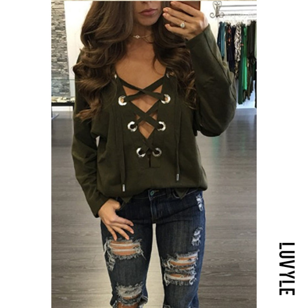 Army Green Deep V Neck Lace Up Plain T-Shirts Army Green Deep V Neck Lace Up Plain T-Shirts