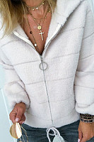 Casual Zipper Lamb Wool Short Coat