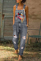 Casual Washed Printed Tooth Sling Jeans Ripped Jumpsuits