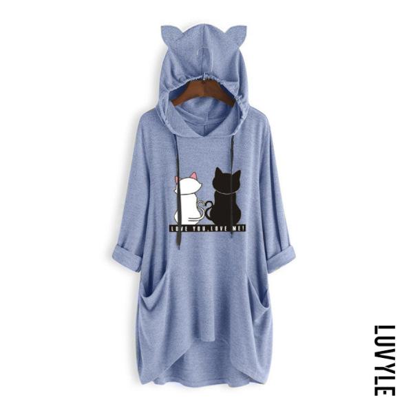 Blue Cat Loose-Fitting Casual Hoody Blue Cat Loose-Fitting Casual Hoody