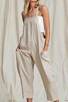 Loose Fitting  Overall  Plain  Sleeveless Jumpsuits
