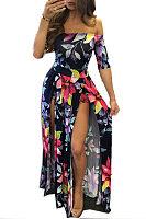 Off Shoulder  Backless Slit  Printed Maxi Dresses