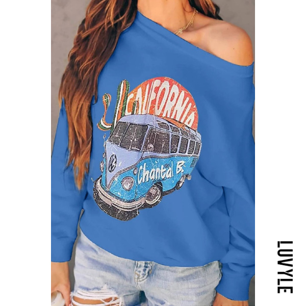 Blue Casual Long Sleeve Cartoon Hoodies Blue Casual Long Sleeve Cartoon Hoodies
