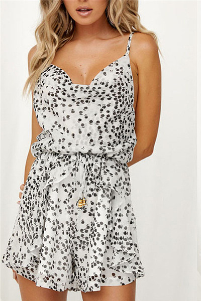 Spaghetti Strap  Printed  Sleeveless  Playsuits