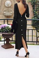 Round Neck  Backless  Plain  Long Sleeve Maxi Dresses