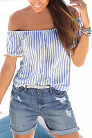 Off Shoulder  Striped T-Shirts