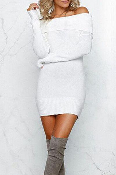 Off Shoulder  Plain Bodycon Dresses