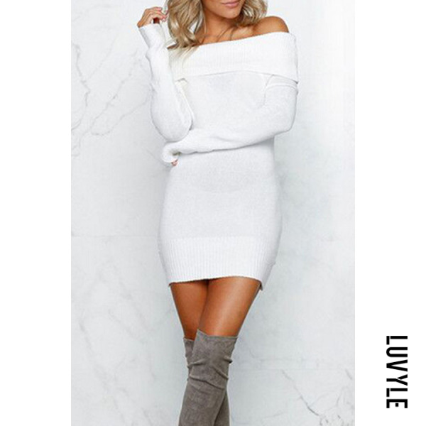 White Off Shoulder Plain Bodycon Dresses White Off Shoulder Plain Bodycon Dresses