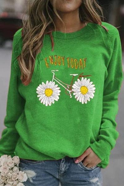 Daisy Printed Long Sleeve Sweatshirt