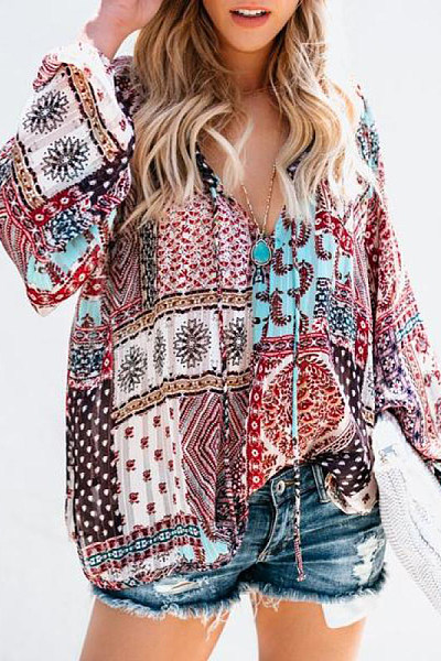 V Neck Loose-Fitting Printed Blouse