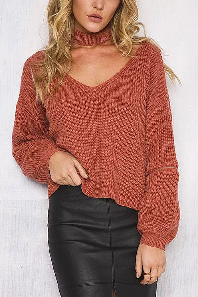 V Neck  Plain  Elegant Sweaters