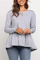 Round Neck Falbala Plain Shirt