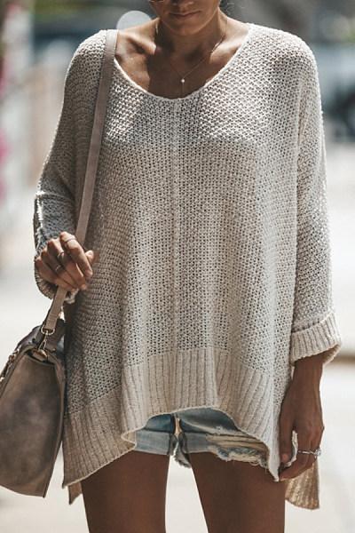 Brief  Plain  Long Sleeve Sweaters