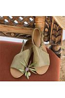 Plain  Flat  Peep Toe  Date Outdoor Flat Sandals