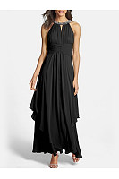 Round Neck Beading Keyhole Plain Maxi Dress