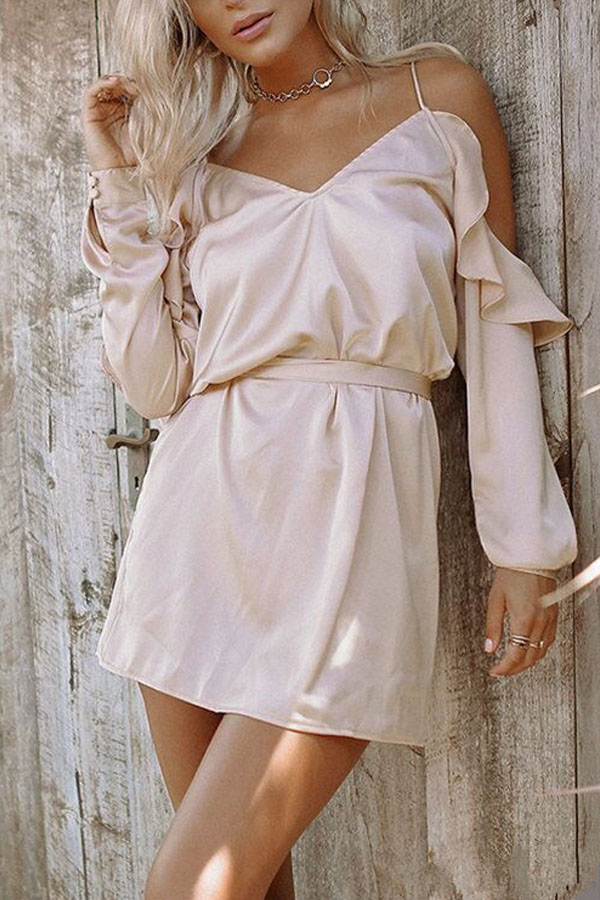 Beach Date Dress, Sexy off-shoulder Silk Dress with long sleeves and belt