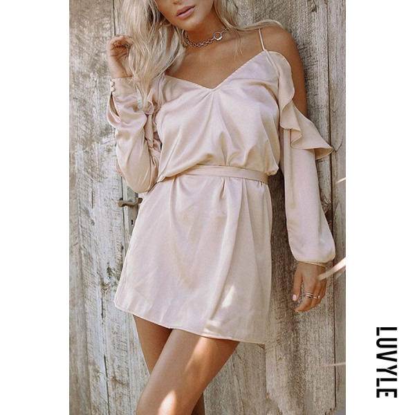Pink Spaghetti Strap Belt Plain Long Sleeve Casual Dresses Pink Spaghetti Strap Belt Plain Long Sleeve Casual Dresses