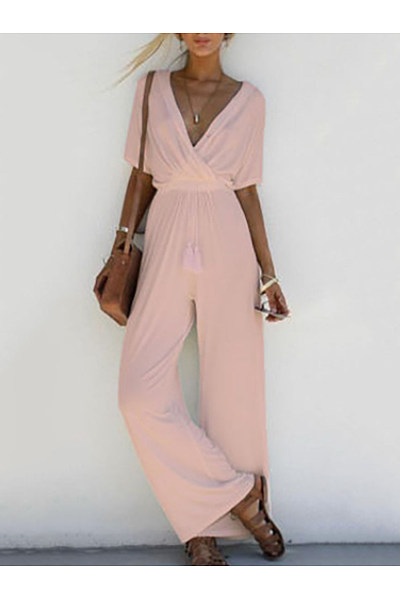 V-Neck  Patchwork  Plain Jumpsuits