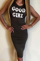 Round Neck  Letters  Sleeveless Bodycon Dresses