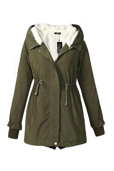 Hooded  Zipper  Belt  Plain Outerwear