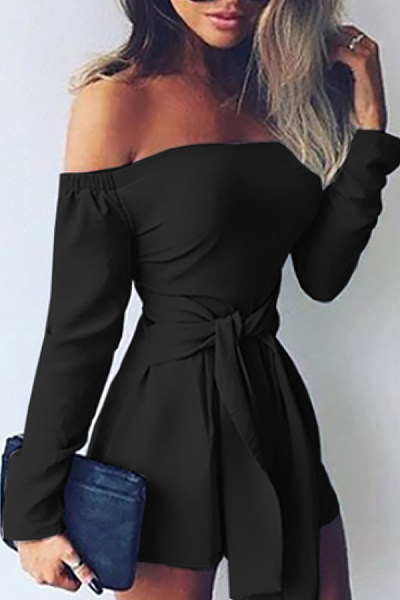 Off Shoulder  Belt  Plain  Long Sleeve  Playsuits