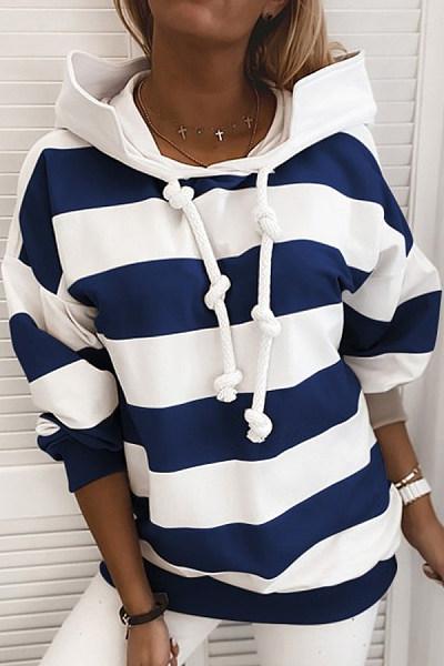 Striped Printed Loose Hoody