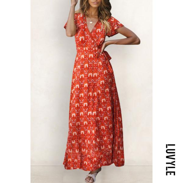 Orange Red V Neck Floral Printed Short Sleeve Maxi Dresses