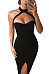 Black Halter Beading Sheath Sleeveless Bodycon Dresses